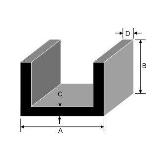 152.4mm x 76.2mm x 6.4mm x 9.5mm Aluminium Channel
