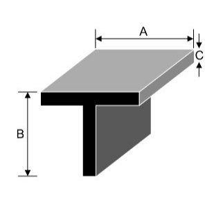 101.6mm x 101.6mm x 9.5mm Aluminium Tee Section